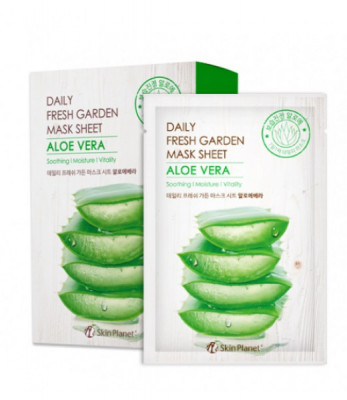 Маска для лица тканевая алое Mijin Skin Planet daily fresh garden mask sheet ALOE VERA 25гр: фото