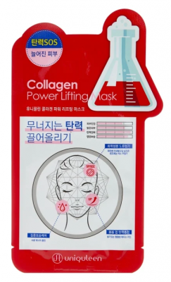 Маска для лица тканевая с коллагеном Mijin Uniquleen Collagen Power Lifting Mask 26г: фото