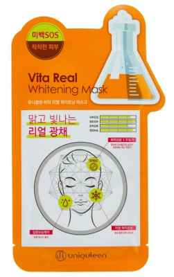 Маска для лица тканевая витаминная Mijin Uniquleen Vita Real Whitening Mask 26г: фото