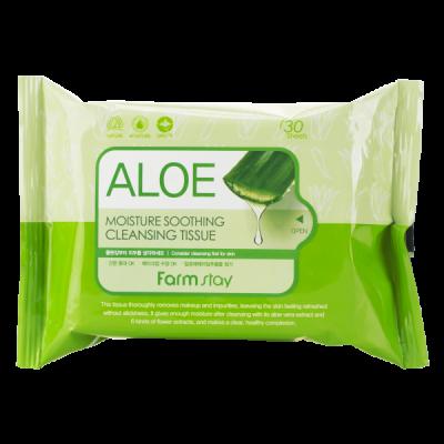 Очищающие увлажняющие салфетки с экстрактом алоэ FARMSTAY ALOE MOISTURE SOOTHING CLEANSING TISSUE 30 шт: фото