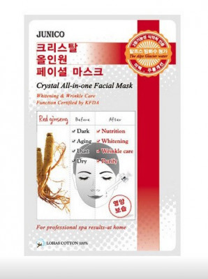 Маска тканевая c красным женьшенем Mijin Junico Crystal All-in-one Facial Mask Red ginseng 25г: фото