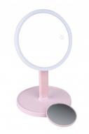 Зеркало косметологическое 1x/7x со светодиодной подсветкой LM208 (розовое) Gezatone: фото
