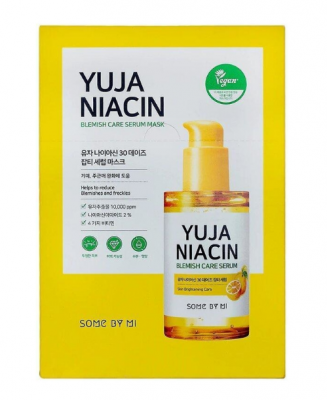 Тканевая маска для лица с экстрактом юдзу SOME BY MI YUJA NIACIN BLEMISH CARE SERUM MASK 25г: фото