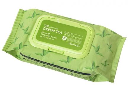 Салфетки для снятия макияжа с экстрактом зеленого чая TONY MOLY THE CHOK CHOK GREEN TEA No-Wash Cleansing Tissue 456г: фото