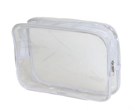 Косметичка прозрачная на молнии Sibel 19*27см, белая: фото